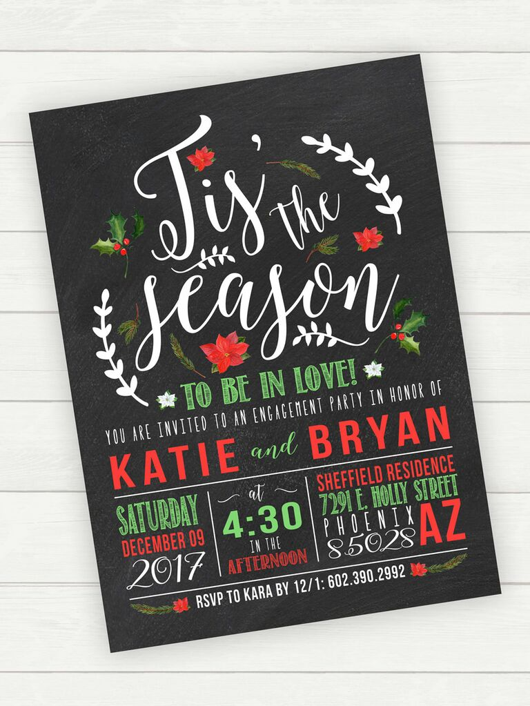 Christmas winter engagement party invitation