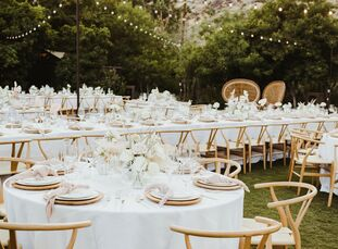 "For their desert wedding in Palm Springs, Samantha Birkel and Zack Novack drew inspiration from a far-flung locale—the coast of Australia. ""We both wa"