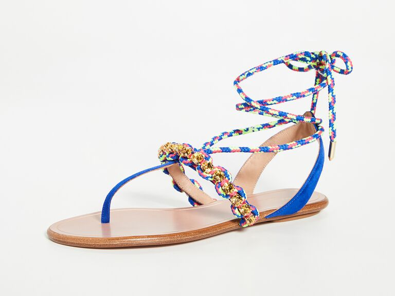 Colorful beach wedding shoes