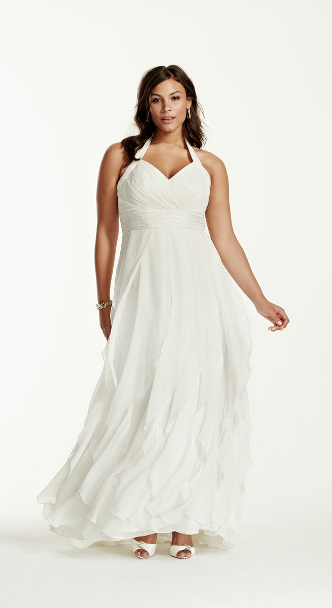 ad7a76f7fa3 David s Bridal halter dress with ruffles plus size beach wedding dress