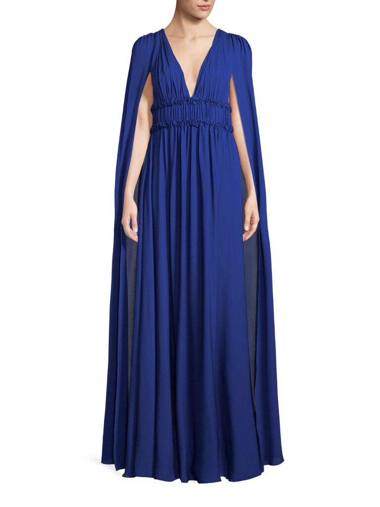 Marchesa V Neck Cape Gown For Formal Winter Wedding
