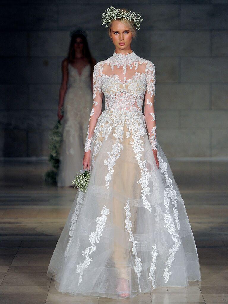 Reem Acra Fall 2018 high neck long sleeve sheer ball gown wedding dress