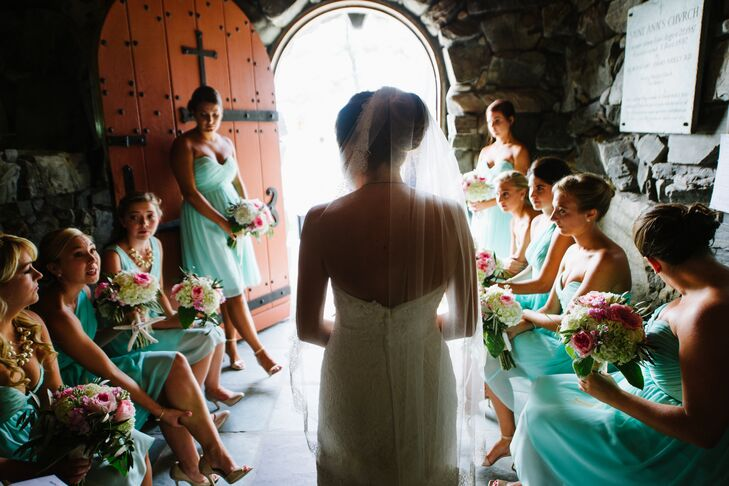 Mint Cocktail Length Bridesmaid Dresses