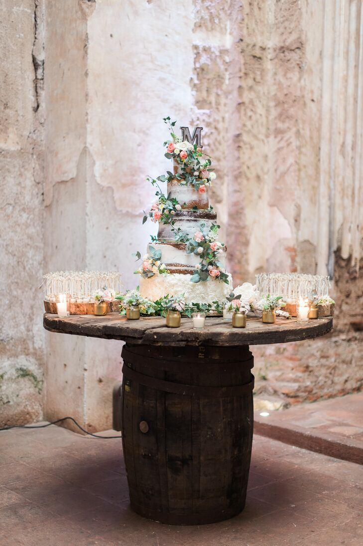 Garden-Inspired Naked Cake on Rustic Barrel Stand