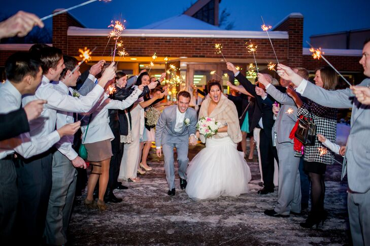 The reception had lots of ways for wedding guests to participate, like a photo booth and a spectacular sparkler send-off.