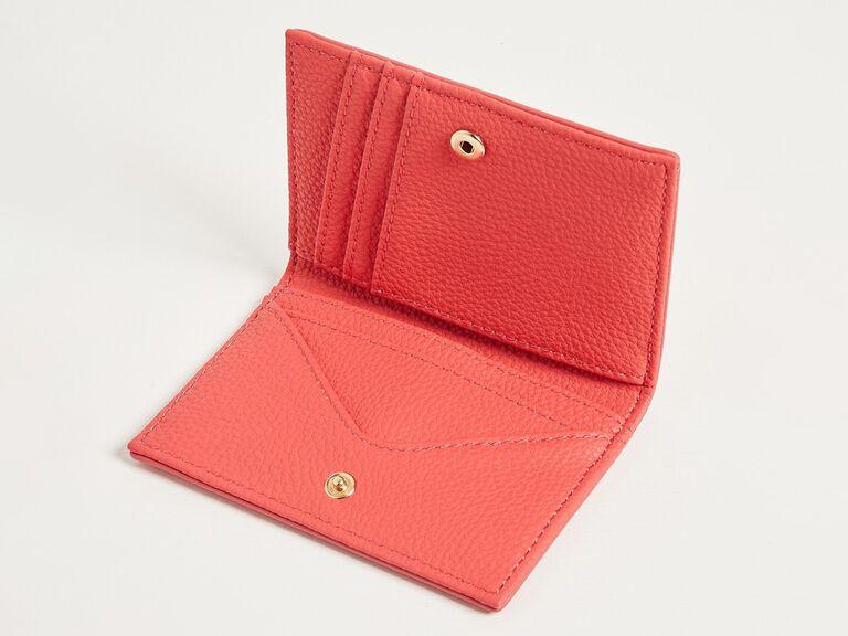 Coral-colored cardholder 35th anniversary gift idea