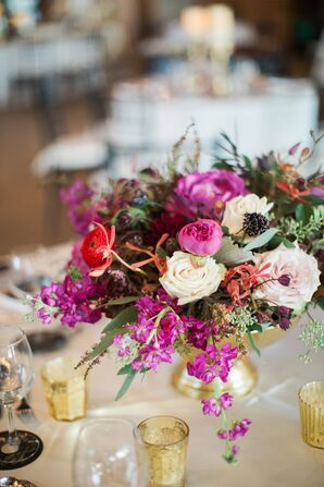 Fuchsia Pink Centerpieces in Gold Bowls