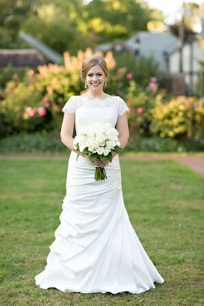 Satin Fit-and-Flare Gown with Lace Topper