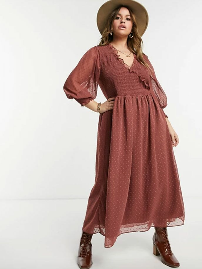 Dusty rose maxi cottagecore dress with long blouson sleeves and swiss dots all over
