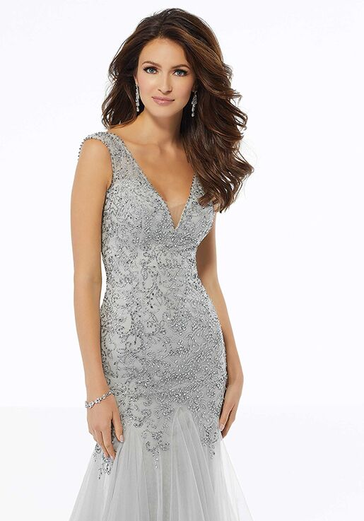 MGNY 72103 Silver Mother Of The Bride Dress