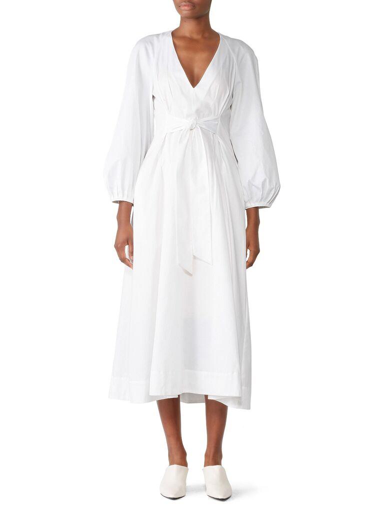 Cotton midi dress with long blouson sleeves