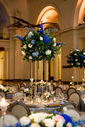 Tall Centerpieces with Blue Hydrangeas, White Roses and Gold Vase