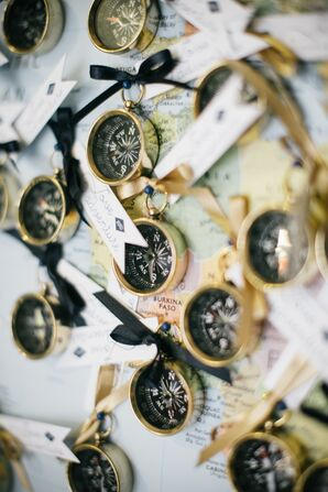 Gold Compass Wedding Favors With Tags