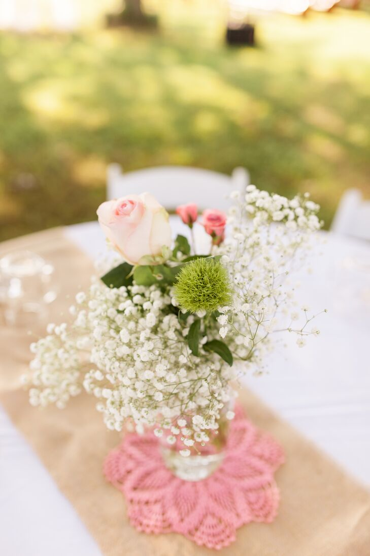 DIY Baby's Breath and Rose Centerpieces