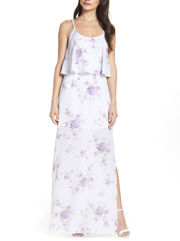 Purple and white floral bridesmaid dress