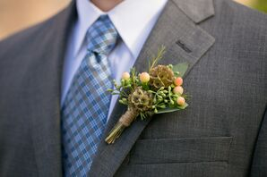 Scabiosa Pod and Berry Boutonniere