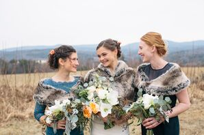 Mismatched Blue Bridesmaid Dresses with Fur Stoles