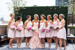 Strapless Blush David's Bridal Bridesmaid Dresses