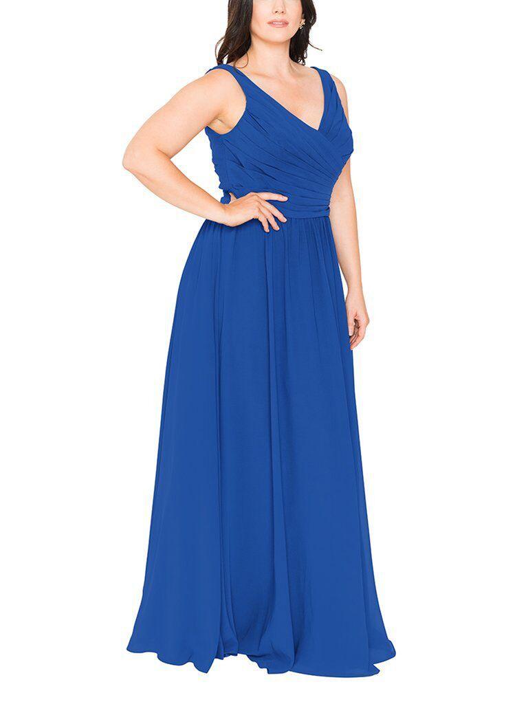 Royal blue plus size bridesmaid dress