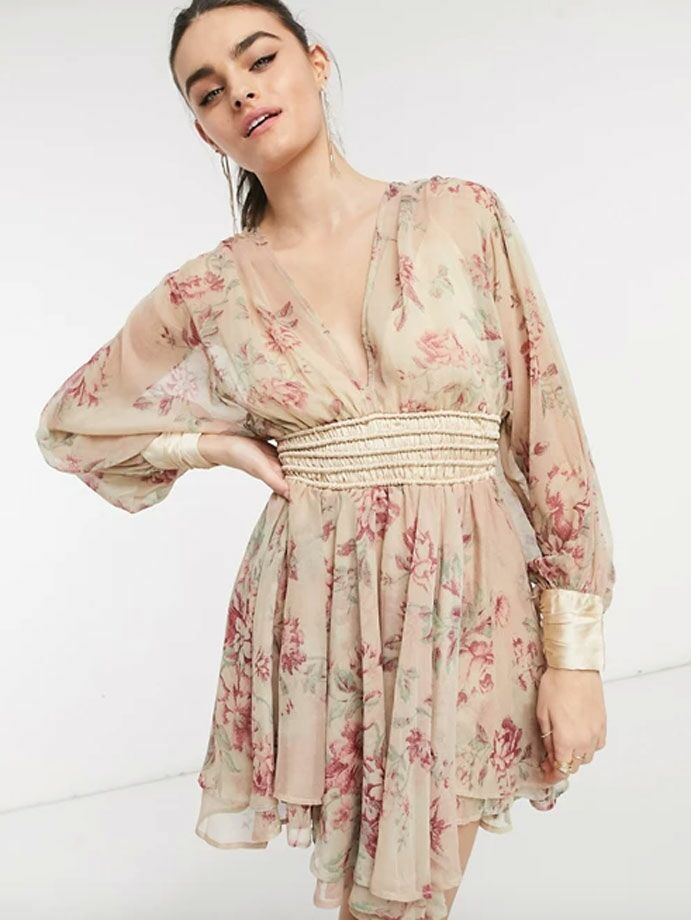 Neutral floral print cottagecore dress with long sleeves and satin cuffs