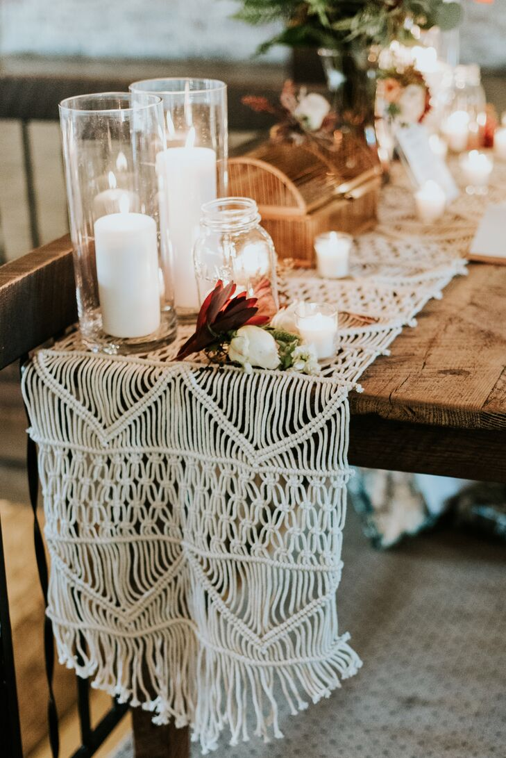 Macrame Table Runner on Rustic Farm Table