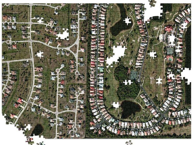 Satellite mapped neighborhood jigsaw puzzle