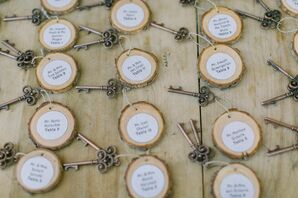 Vintage Key and Wood Slice Escort Cards