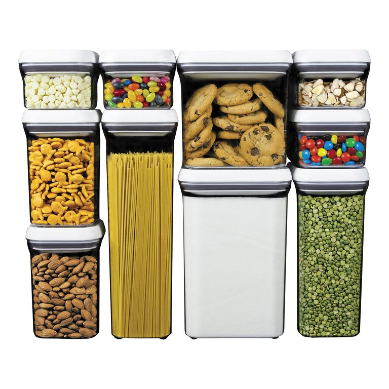 OXO pop containers filled with pasta, cookies and other storage needs in a neat stack