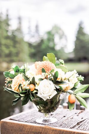 Kumquat and Peach Rose Flower Arrangements