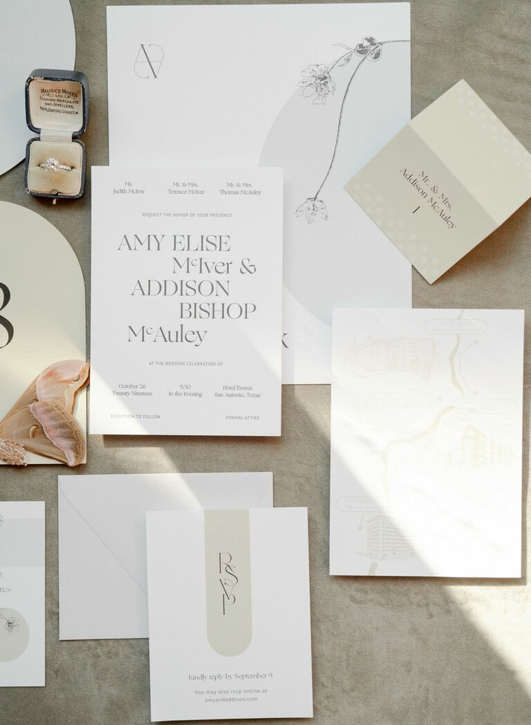Modern white wedding invitation with serif typeface