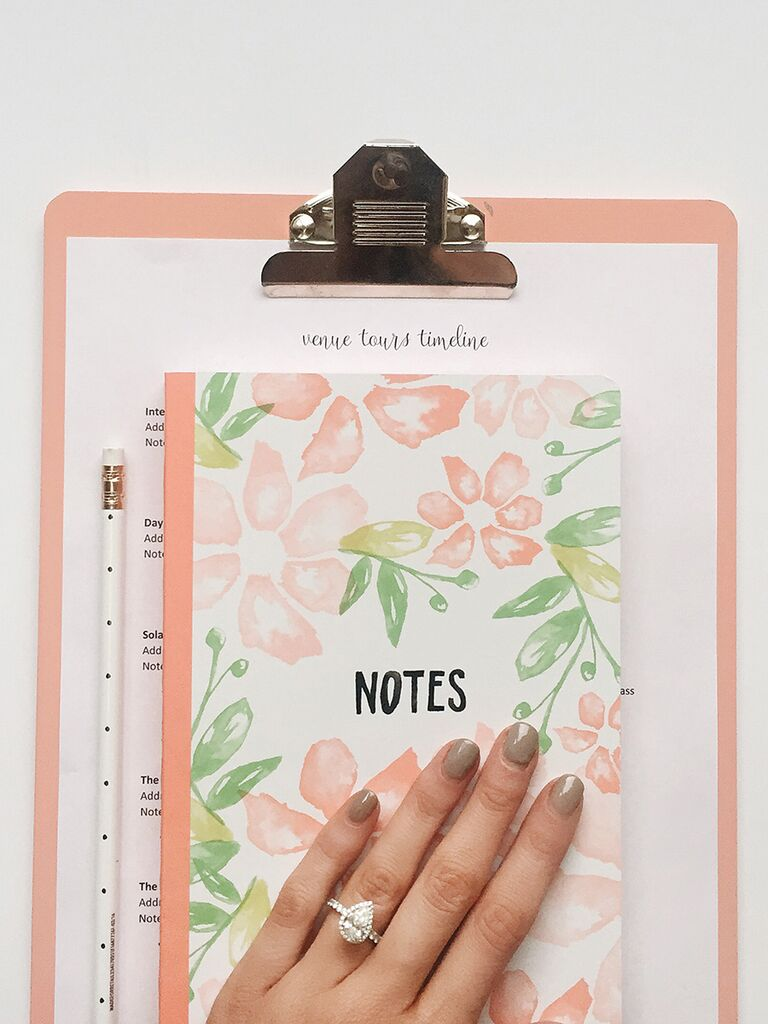 Engagement ring selfie idea, with your planning notebook