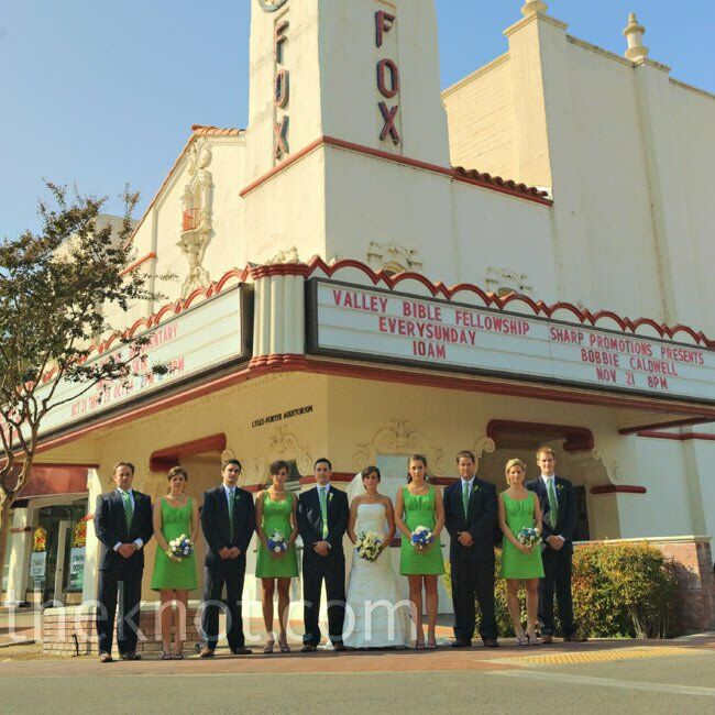The wedding party posed for photos outside the Visalia Fox Theater.