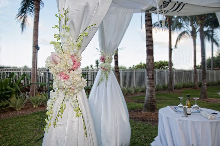 The coupe had a modern Orthodox Jewish ceremony after a traditional Bedeken and Tisch. Shira and Yoni's huppah was decorated with white hydrangea, pink roses and white lilies of the valley.