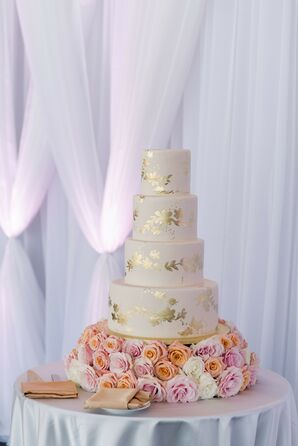 Gold-Accented Wedding Cake in Boston