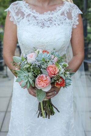 Garden Rose and Succulent Bouquet
