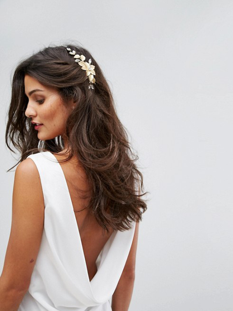 floral gold hair clip for bride