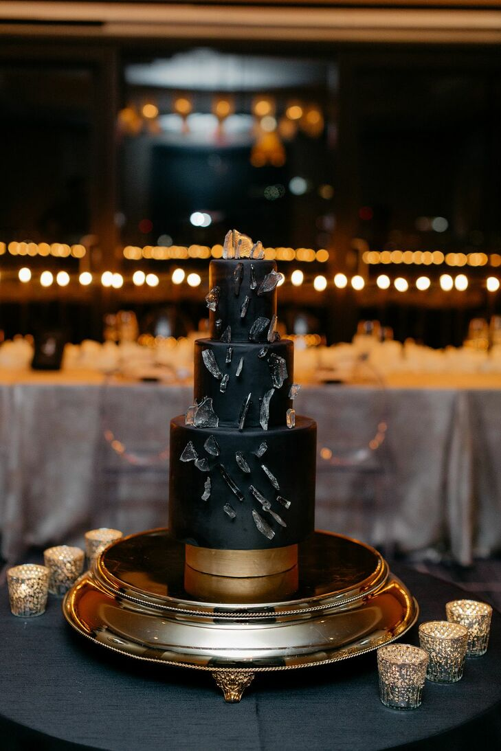 Modern Three-Tier Black Wedding Cake
