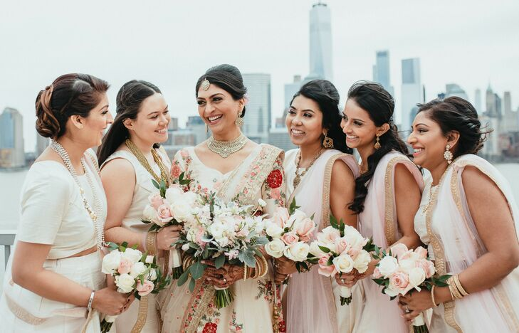 Elegant Indian Bridal Party with Rose Bouquets