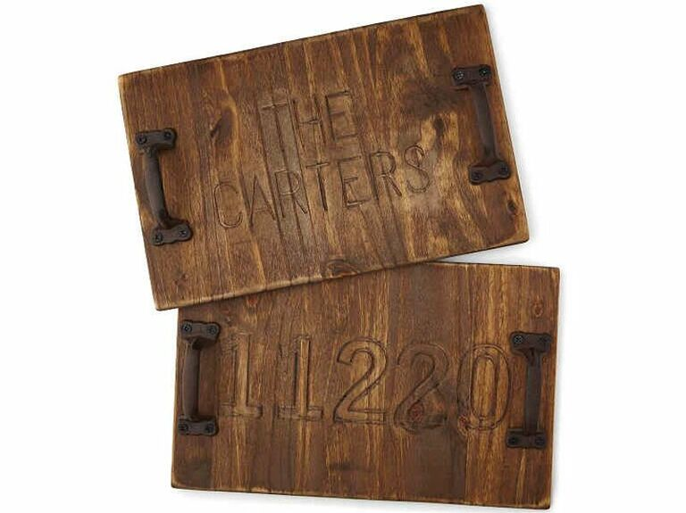Distressed wood personalized serving tray with iron handles
