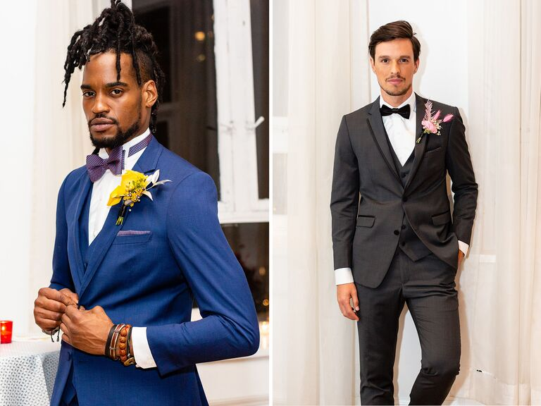 models pose in suits at Admire & Be Inspired party