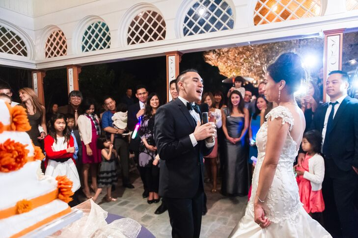 Since Joel sang to Chantley during his proposal, it was only right that he sang to his wife during the reception.