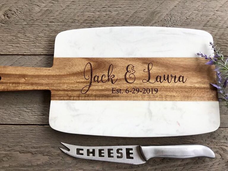 Personalized wood and marble cheese board with knife