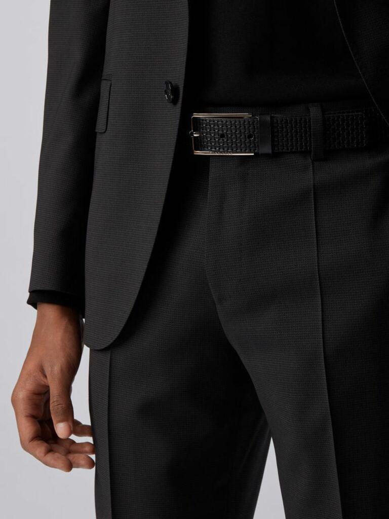 Black embossed woven textured belt