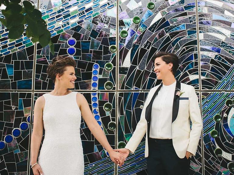 modern, colorful wedding backdrop