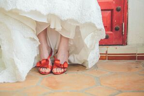 Red Peep-Toe Valentino Bridal Shoes