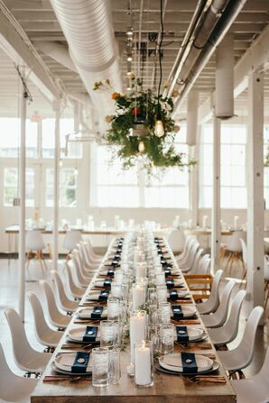 Minimal, Modern Reception with Hanging Greenery