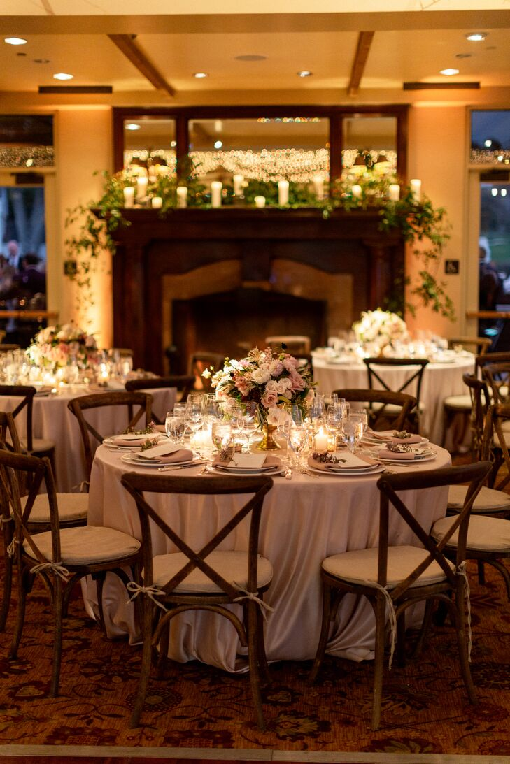 Romantic Reception with Soft Lighting and Round Tables