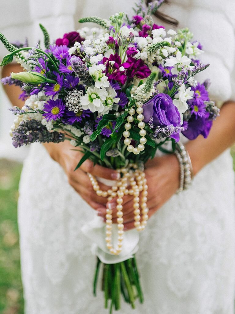 16 purple bouquet ideas and the flower names too purple and white wedding bouquet with asters stock lisianthus and veronica mightylinksfo