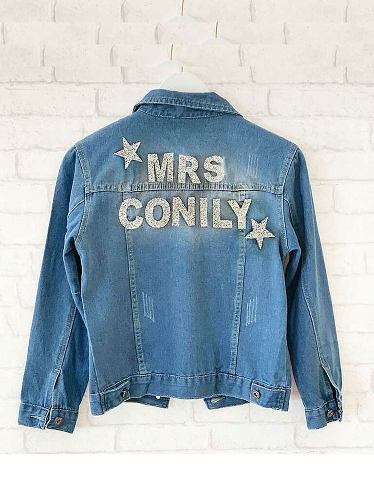 Custom bride denim jacket with glitter stars and name