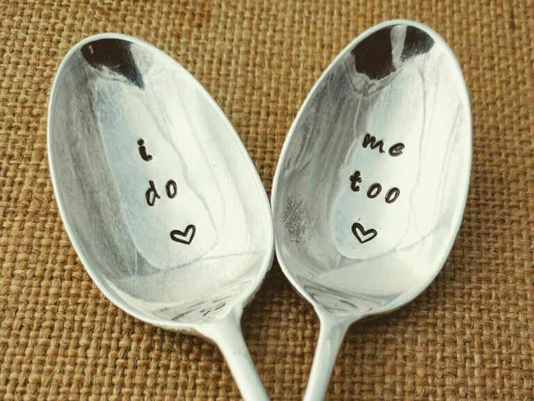 vintage hand stamped spoon engagement gift